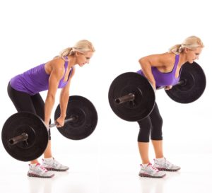 Woman showing the start and finish position of how to do a bent over row