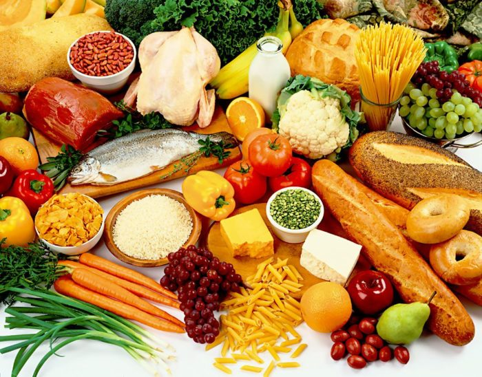 Selection of healthy foods