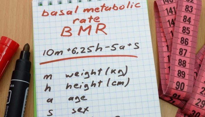 notepad with information on how to calculate BMR